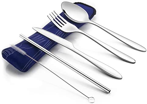 Roaming Cooking Reusable Travel Utensils with Case   Fork and Spoon Set with Knife and Optional Reusable Straws – Great Office, Travel, or Camping Accessories   Lightweight, Sturdy Reusable Utensils