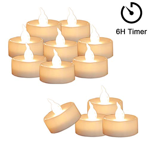 12 Tea Lights Led Flickering with Timer (6 Hours on, 18 Hours Off), Mini Flameless Candles Tea Lights Battery Operated Flickering Warm White for Wedding Camping Party Decorations