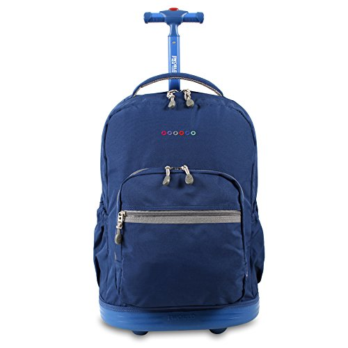 J World New York Sunrise Rolling Backpack, Indigo, 18'
