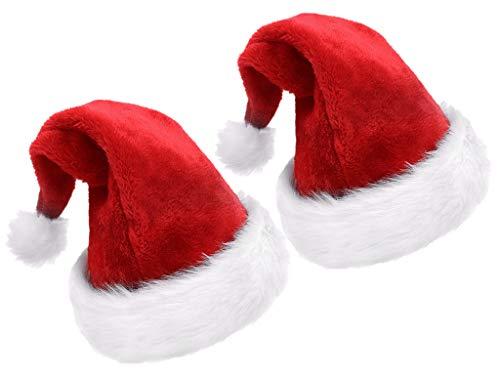 Kinteshun Children Christmas Santa Hat,Kids' Double-Layered Luxury Plush Christmas Santa Claus Xmas Cap Hat(2pcs)