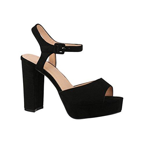 Elara Damen Pumps Peep-Toe Sandalette Chunkyrayan AT0983 Black-41