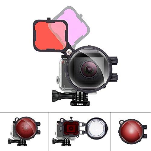 3in1 Tauchobjektivfilter-Set für GoPro Unterwassertauchen Objektivfilter Rot + MagentaFilter + 16X Nahaufnahme-Makrolinse mit Anti-Lose Sicherheitsverschluss für GoPro Hero 7/6/5 Tauchobjektivfilter