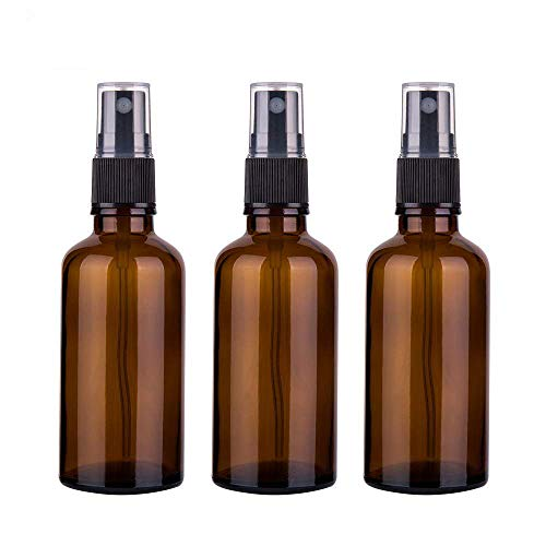 Amber Glass Spray Bottles For Aromatherapy Essential Oils Cleaning Products, 3.4oz / 100ml Empty Fine Mist Travek Bottle Container 3 Set Small Spray Bottle