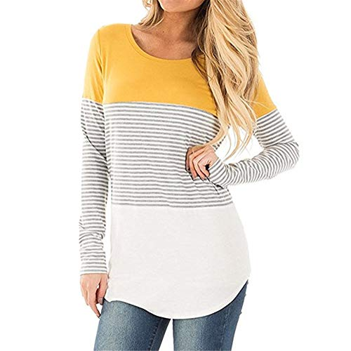 Camiseta Mujer Manga Larga Cómoda Blusa Deportiva Casual Suave Mujer Empalme Raya Cuello Redondo Camiseta Primavera Y Verano Ropa Diaria Mujer Tops C-Yellow L