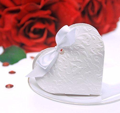Geschenkbox Gastgeschenk Hochzeit Taufe Herz Herzform 10 Stück - Weiss
