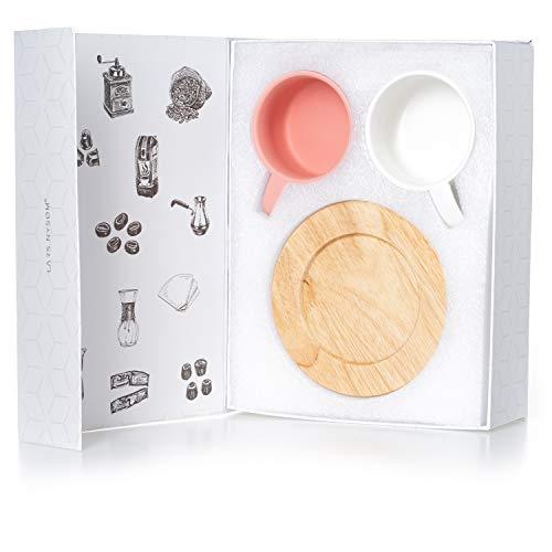 LARS NYSØM Kaffeetassen Set Roast I 2 Stück Cappuccino Tassen mit Holzuntersetzer I Coffee Cups matt I 160ml Keramik-Tassen in Premium Geschenkbox