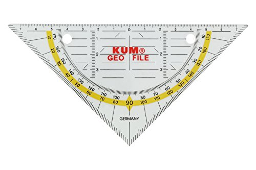 KUM AZ208.19.19-T Abheftbares Geometriedreieck 261 GeoFile, 1 Stück, 16 cm, klar