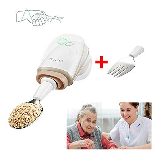 POEO Steady Cuchara para Parkinson, Kit de Cubiertos para Personas Mayores (For and Spoon Are Included)