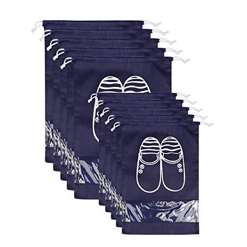 NEWSTYLE Scarpe Borse per Viaggiare, 10 Pack Sacca da Viaggio Impermeabile Sacchetti Portascarpe Organza con Finestrella Trasparente per Stivali, Tacco Alto, Scarpe e Sandali (Blu Scuro)