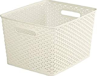 CURVER   Rangement Aspect rotin empilable L rectangulaire - My Style, Ivoire, Storage Others, 35,5x29,6x22 cm