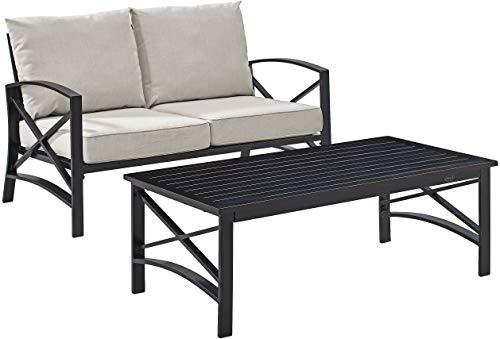 Crosley Furniture KO60010BZ-OL Kaplan Outdoor Metal 2-Piece Seating Set (Loveseat, Coffee Table), Oiled Bronze with Oatmeal Cushions