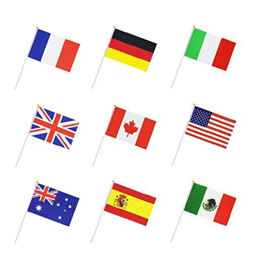 50 Pays Drapeau International Bâton Du Monde, À Main Petit Mini Drapeaux Nationaux De Fanions Bannières Sur Bâton, Décorations Festives Pour Parades, Olympiques, La Coupe Du Monde, Bar, Événements De