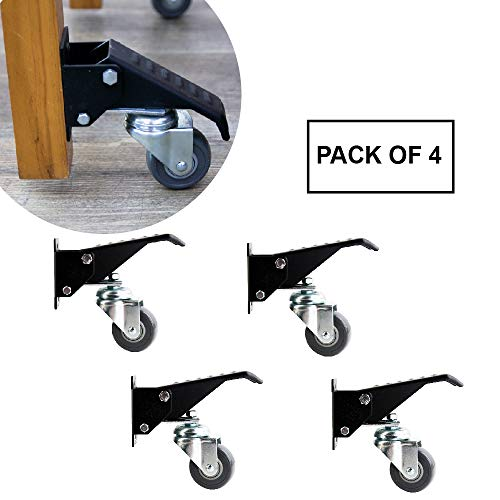 O'skool Heavy-Duty Retractable Workbench Casters Set,Pack of 4,400lbs,anti-Slip Foot Pedal