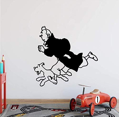 Dibujos Animados Tintín Con Perro Tatuajes De Pared Dormitorio Tintín Animal Anime Pegatinas De Pared Inspiradoras Habitación Infantil Vinilo Decoración Del Hogar 56X53Cm