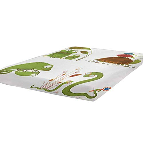 LCGGDB Reptile Fitted Sheet Full Size,Reptile Family Colorful Baby Collection Snake Frog Ninja Turtles Love Mother Soft Decorative Fabric Bedding All-Round Elastic Pocket,Green Brown Red