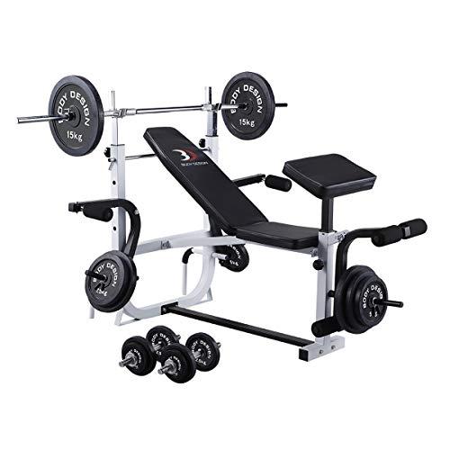 BODYDESIGN(ボディデザイン)ホームビルダーパック/ラバーバーベルセット100kg│マシンセットトレーニングベンチバーベルダンベルラバー