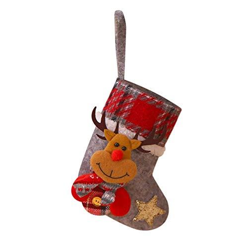 QZXCD Kerstkous, kerstboom, om op te hangen, boomdecoratie, kerstkous, snoepzakje, geschenkzakje, betoverend, voor kinderen, open haard boom D