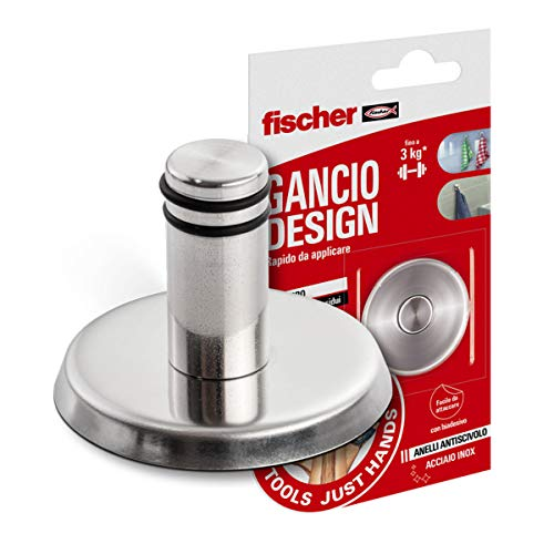 Fischer Design NTJH haken, belastbaar tot 3 kg, zelfklevende haken van roestvrij staal met antislip ringen, ideaal voor handdoeken, theedoeken, kleding, keuken en badkamer, 552164
