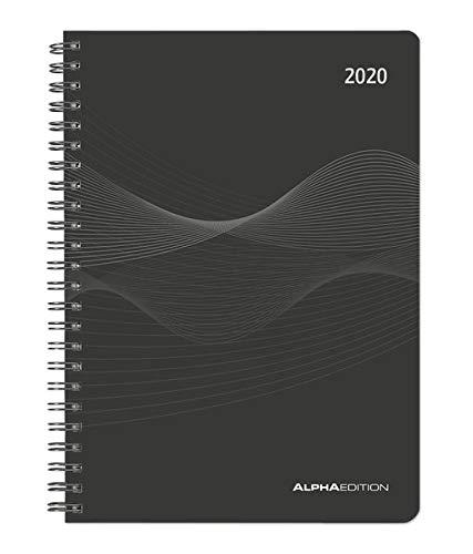 Wochenplaner PP-Einband schwarz 2020 - Bürokalender A5 - Cheftimer - Ringbindung - 1 Woche 2 Seiten - 128 Seiten - Terminplaner - Notizbuch