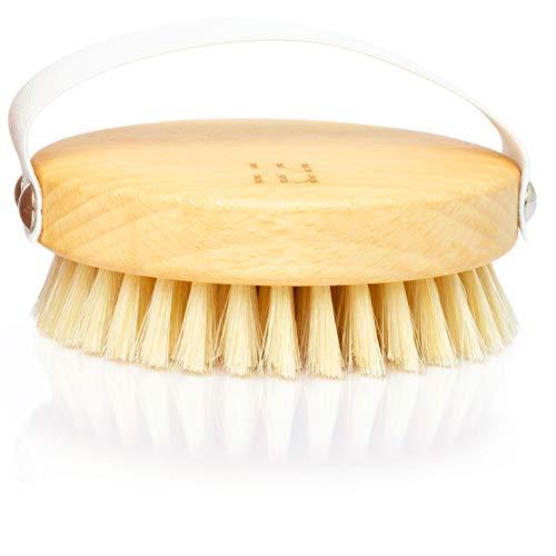 ruhi® Körperbürste rund 100% Naturborsten gefertigt in DE plastikfrei zur Trockenbürsten Massage (dry brush), Lymphdrainage gegen Cellulite | regionales, FSC-zertifiziertes Buchenholz