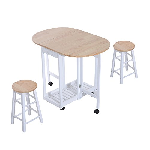 HOMCOM 3PC Wooden Kitchen Cart Mobile Rolling Trolley Folding Bar Table Two...