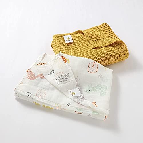 Pack Muselina + Manta para Bebé: Suave Gasa Estampada de Bambú y Algodón de 120x120 cm con Dibujo de Animales, y Manta Tejida Amarilla de 80x100 cm de Punto de Algodón Orgánico