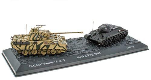 - Lote de 2 Tanques Militares 1:72 World of Tanks: Panther + T3476 Batalla de Kursk URSS 1943 (OT1 + OT2)