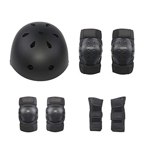 Lumbar Ondersteuning Kids Helm Knie Elleboog Pols Pads Peuter Helm, 7 Stks Outdoor Sport Beschermende Gear Set Roller Fiets Terug Ondersteuning Riem L Zwart