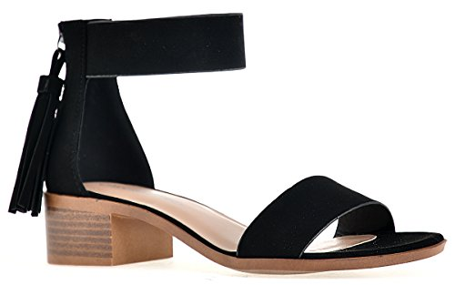 City Classified Womens Briefly Heeled Sandal Shoes Black Nubuck 7