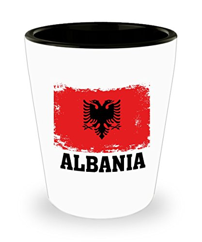 Albania Flag Shot Glass Funny Gifts - Albanian Pride Flag Vintage, Soccer, Football Team, Hometown, Travel Albania Flag Ceramic Cup