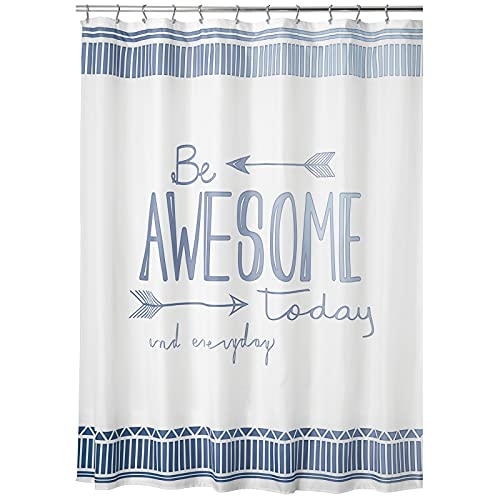 """mDesign Decorative Be Awesome Quote - Easy Care Fabric Shower Curtain with Reinforced Buttonholes, for Bathroom Showers, Stalls and Bathtubs, Machine Washable - 72"""" x 72"""" - Blue/White"""