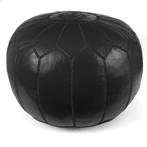 Stuffed Moroccan Pouf, Pouffe, Ottoman, Poof, Color : All Black