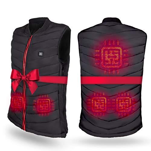 Premium beheizbare Weste - 5 beheizte Zonen - Heizweste für Damen und Herren Größe XL - Kleidung bis 55°C. Geschenke für Männer, Frauen und Wanderer