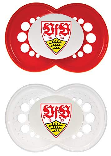 MAM Football Schnuller im 2er-Set, Original Schnuller im Fan Design vom VfB Stuttgart, zahnfreundlicher Baby Schnuller aus MAM SkinSoft Silikon, 6-16 Monate