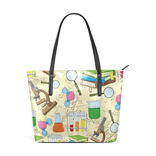NR Multicolour Fashion Damen Handtaschen Schulterbeutel Umhängetaschen Damentaschen,Wissenschafts-Bildungs-Laborskizzen-Buch-Gleichungs-Lupen-Mikroskop-Molekül-Kolben-Druck