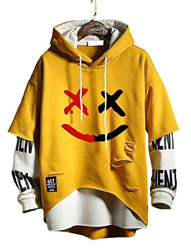 Hello MrLin - Felpa da uomo Techwear, stile hip-hop, stile giapponese Giallo L