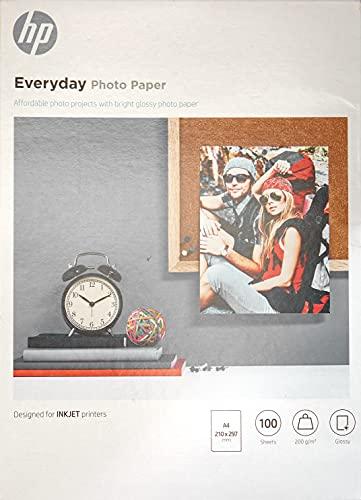 HP Everyday Photo Paper, Q2510A, 100 hojas de papel fotográfico brillante avanzado, compatible con impresoras de inyección de tinta, A4, peso del material de impresión 200 g m²