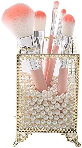 Chunjiao Pinceaux Holder, Maquillage Organisateur de Verre Premium Gold en métal de Style Dentelle avec des Perles Blanches gratuites - antipoussière Boîte de Rangement cosmétique