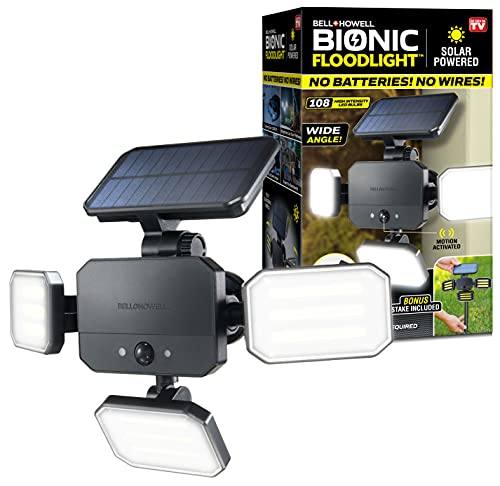 Bionic Floodlight 180 Degrees Swiveling Light by Bell+Howell Solar Lights Outdoor with Motion Sensor LED Solar Outdoor Lights 108 High Power LED Bulbs Adjustable Panels for Garden Patio As Seen On TV