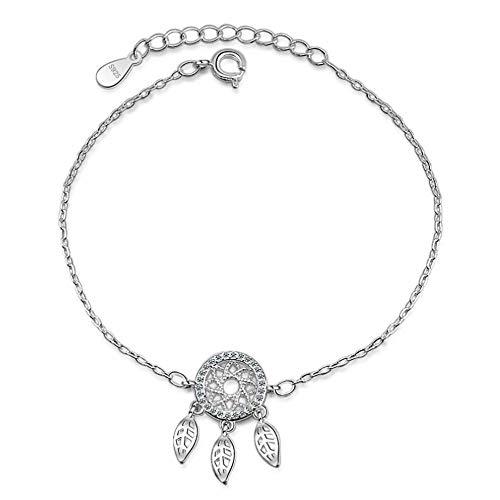 Belons Pulsera para niñas de plata de ley 925 con circonita cúbica y colgante de atrapasueños, cadena de mano ajustable para mujeres y mujeres