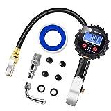 PullPritt Manómetro de Neumáticos, 200 PSI Manómetro Digital con Pantalla LCD Extensor de Válvula de 90 Grados para inflar Carro Coches Bicicletas y Motocicletas