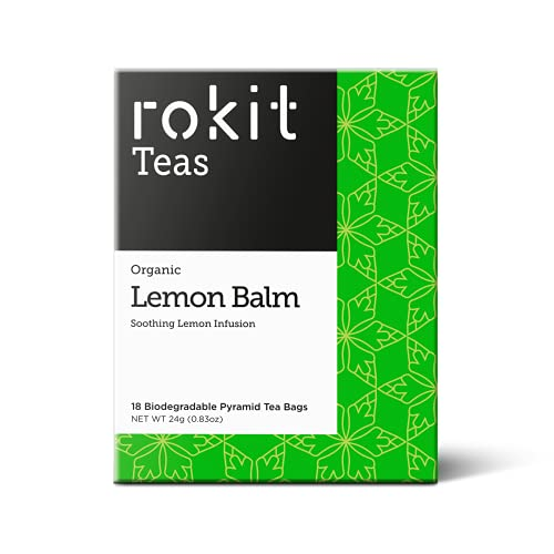 Rokit Teas | Lemon Balm | Herbal Tea | 18 Unbleached Tea Bags | Organic | Naturally Caffeine Free | Easy to Use | No Mess
