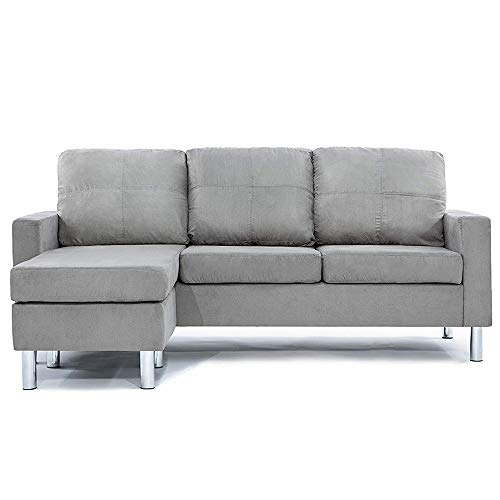 Divano Roma Furniture Small Space Modern Sectional Sofa, Gray
