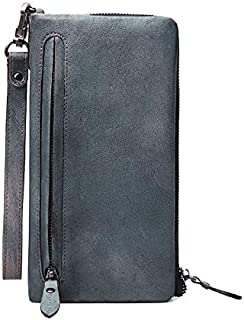 Mens Leather Bag The First Layer of Leather Men's Long Zipper Clutch Bag Men's Leather Coin Card Package for Travel Shopping Bag (Color : Grey, Size : S)