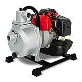 EBERTH Pompe à eau à moteur à essence pour les eaux usées (12,5 m³/h = 12.500 l/h, 1' connexion, aspiration 7m, hauteur de pompage 17,5m, puissance 2 CV)