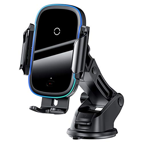 Carregador Baseus Sem fio Veicular 15w, Suporte de telefone de fixação rápida Qi de carregamento rápido de 15 W, Suporte de telefone de ventilação de ar para pára-brisa iPhone compatível 11/11 Pro / 11 Pro Max / Xs MAX / XS / XR / X / 8/8 +, Samsung S10 / S10 + / S9 / S9 + / S8 / S8 +