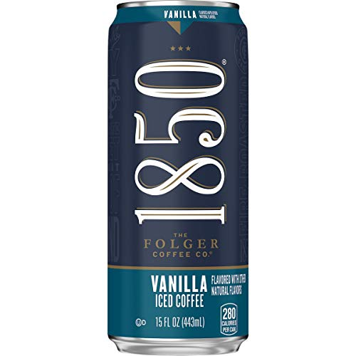 1850 By Folgers Vanilla Flavored Iced Coffee Beverage, 15 Fluid Ounces (Pack of 12), Ready to Drink