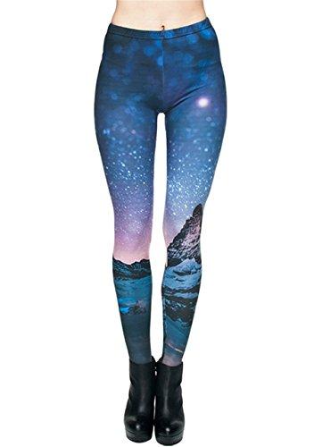 CHIC DIARY Damen bunt Sport Strumpfhose Leggings mit muster Fitness Yoga Joggen Pants Hose Mehrfarbig One size, Sternenhimmel Design, Einheitsgröße