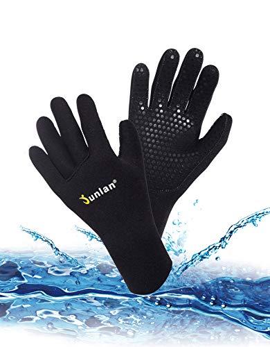 Junlan Neoprene Diving Gloves, Wetsuits Glove for Snorkeling, Kayaking, Water Jet Skiing, Sailing, Scuba Diving, Rafting (Black, M/L)