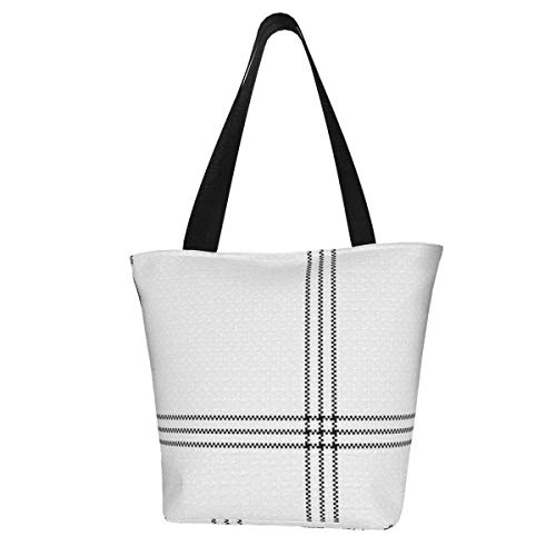White Black Plaid Tartan Abstract Beauty Fashion Handbags for Women Tote Shoulder Bag Waterproof Big Capacity Zippered Shoulder Handbag for Travel Work School Shopping Beach